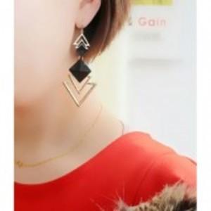 Big Gold-Black Geometric Triangle Dangle Earrings