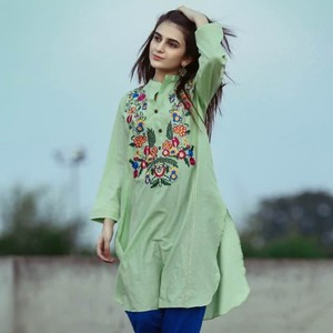 Light Green Cotton Stitched Kurta with Multicolour Embroidery-BS1702