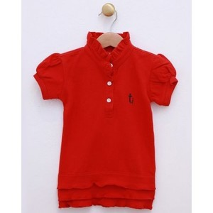 Red Cotton Polo Shirt for Girls