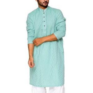 Green & Multicolour Striped 100% Cotton Stitched Kurta - 21015089