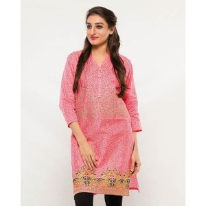 Pink Cotton Embroidered Kurta