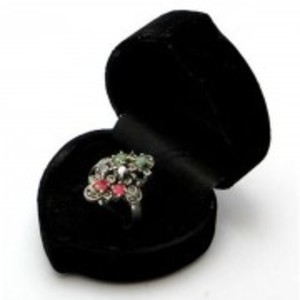 Emerald Sapphire and Ruby Stone Silver Ring GB(5)4395