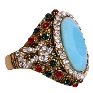 Gold Plated Sky Blue & Multicoloured Stone Ring-R-0028