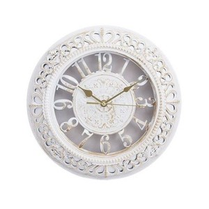 "Gold Shaded Antique Wall Clock-12x12""-White"