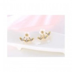 Gold Fashion Jewelry Cherry Blossoms Flower Stud Earrings