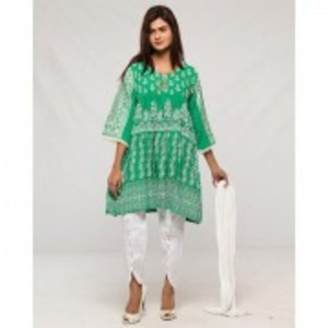 Green Boski Cotton Embroidered Kurta With Tulip & Dupatta