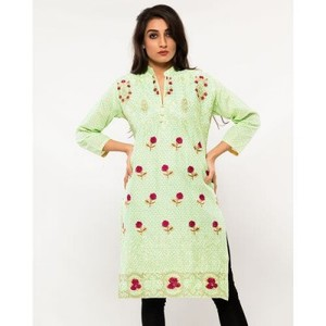 Light Green Cotton Embroidered Kurta