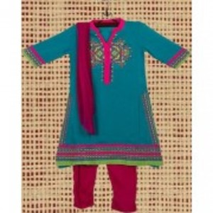 Sea Green Malai Lawn Embroidered Suit for Girls - 3pcs