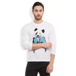 White Cotton Full Sleeves Panda Printed T Shirt-Ace-6879