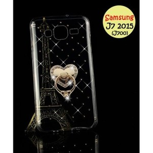 Samsung J7 2015 Cover & Mobile Ring-Transparent Fancy Cover