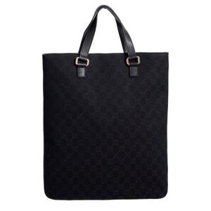 Gucci Womens Dark Brown Canvas Leather Trimmed Guccissima Print Tote Handbag Bag