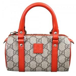 Gucci Beige Ebony Coated Gg Canvas Leather Kids Boston Top Handle Bag