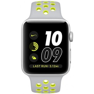 Apple Watch Nike+ 42mm Silver Aluminum Case with Flat Silver/Volt Nike Sport Band MNYQ2