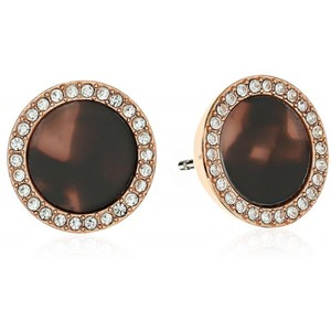 Michael Kors Acetate and Pave Disc Rose Gold Tone Stud Earrings