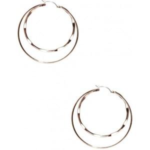 Guess Womens Rose Gold-Tone Double Hoop Earrings