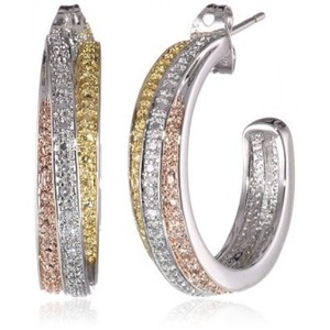 Yellow and Rose Gold-Plated Brass and Diamond Accent J-Hoop Earring 18k