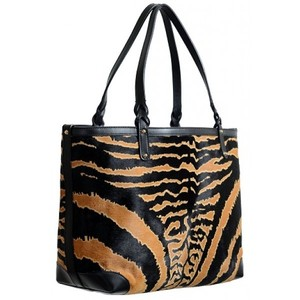 496d687f7e Gucci Womens Animal Print Pony Hair Leather Tote Handbag Shoulder Bag
