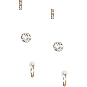 Guess Womens Gold-Tone Rhinestone Earrings Set