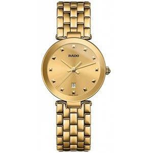 Rado Womens Florence 28mm Gold Plated Bracelet & Case Quartz Gold-Tone Dial Analog Watch R48872253