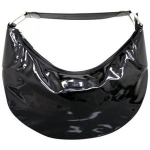 Gucci Black Patent Leather Half Moon Hobo Bag Handbag