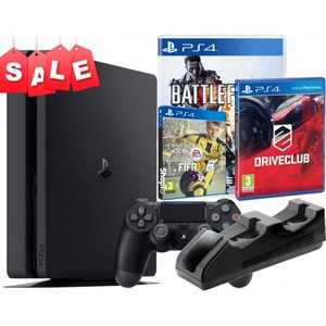 Sony PlayStation 4 Slim 500GB Gamers Bundle with Extra Controller + Nyko Charge Base + Fifa 17 + Battlefield 4 + DriveClub