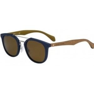Hugo Boss Mens B0777S Square Sunglasses  Blue Brown/Brown  51 mm