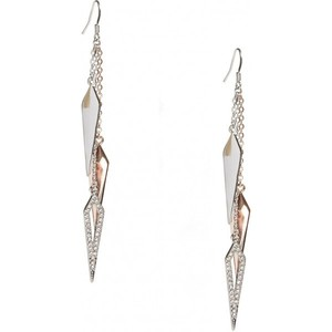 Guess Womens Silver and Rose Gold-Tone Chandelier Earrings