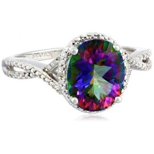 Sterling Silver Mystic Fire Topaz and Diamond-Accented Oval Ring  Size 7