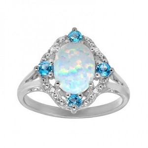 1 1/6 ct Created Opal and Natural Swiss Blue Topaz Ring with Diamonds in Sterling Silver