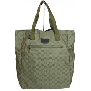Gucci Guccissima Nylon Handbag Viaggio Collection Tote Bag Green