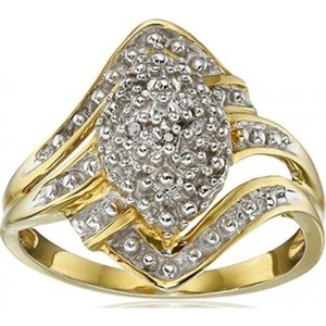Sterling Silver with Yellow Gold Plating Diamond Ring  Size 7