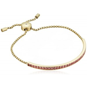 Michael Kors Core Gold-Tone Pink and Cubic Zirconia Slider Bangle Bracelet
