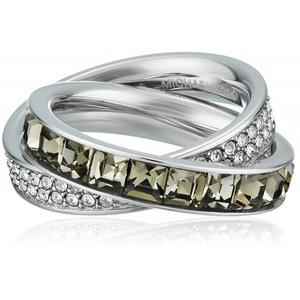 Michael Kors Core Silver-Tone and Cubic Zirconia Interlocking Ring  Size 8