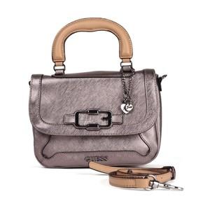 Guess Womens Verdugo Top Handle Flap Bag Gunmetal  VM392118