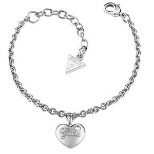 Guess Womens Heartbeat rhodium-plated Bracelet UBB21527-S