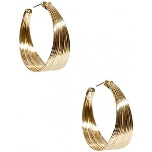 Guess Womens Gold-Tone Wide Medium Hoop Earrings