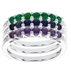 10k White Gold Peridot and Diamond Accent Stackable Ring (I-J I1-I2)