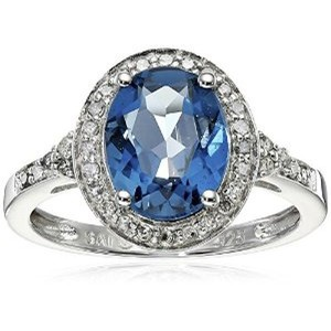 Sterling Silver Oval London Blue Topaz and Diamond-Accent Ring