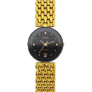 Rado Womens Flourence Gold Plated Bracelet Ceramic Case Quartz Black Dial Analog Watch R48793154