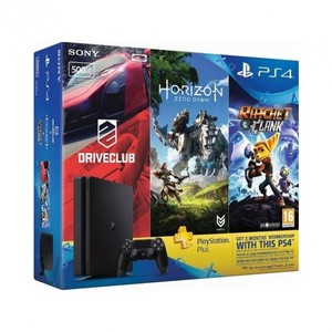 Sony Playstation 4 HITS Bundle 500GB + Horizon Zero Dawn  Ratchet & Clank  and Driveclub + 3 Month PS Plus