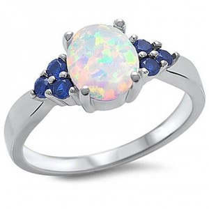 Lab Created White Opal & Blue Sapphire .925 Sterling Silver Ring Sizes 4-12