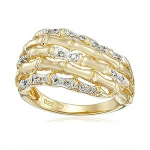 18k Yellow Gold Over Sterling Silver Diamond Ring (1/10cttw  I-J Color  I2-I3 Clarity)  Size 7