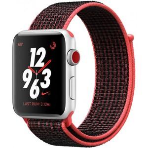 Apple Watch Series 3 Nike+ GPS + Cellular 42mm Silver Aluminum Case with Bright Crimson / Black Nike Sport Loop MQLE2