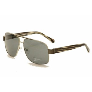 Guess Mens Sunglasses - 6741 / Frame: Gunmetal with Gray Stripe Temples Lens: Gray