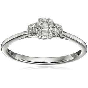 10k White Gold Diamond Baguette Triple Square Ring (1/10cttw  I-J Color  I2-I3 Clarity)  Size 7