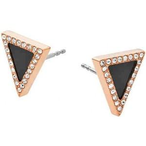Michael Kors MKJ4366 791 Rose Gold Tone Pave Crystal Black Onyx Triangle Earrings