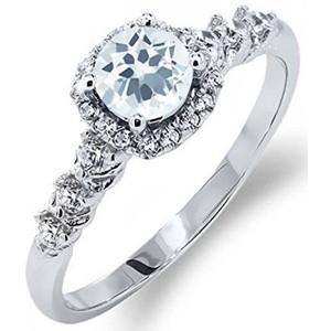 0.87 Ct Round Sky Blue Aquamarine White Topaz 925 Sterling Silver Ring
