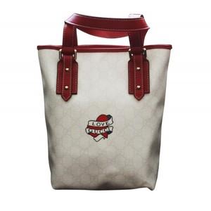 Gucci White Canvas Tote Bucket Bag Love Gucci Heart Tattoo Small Handbag