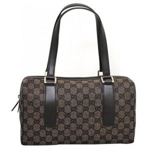 Gucci Brown Canvas Satchel Handbag Charmy Boston Bag