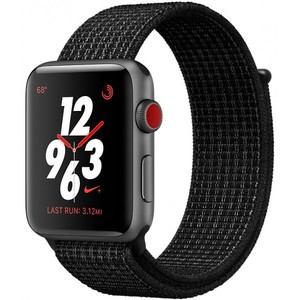 Apple Watch Series 3 Nike+ GPS + Cellular 42mm Space Gray Aluminum Case with Black / Pure Platinum Nike Sport Loop MQLF2
